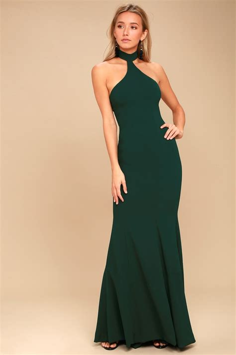 Farest Maxi 1 dress the population forest green halter maxi dress