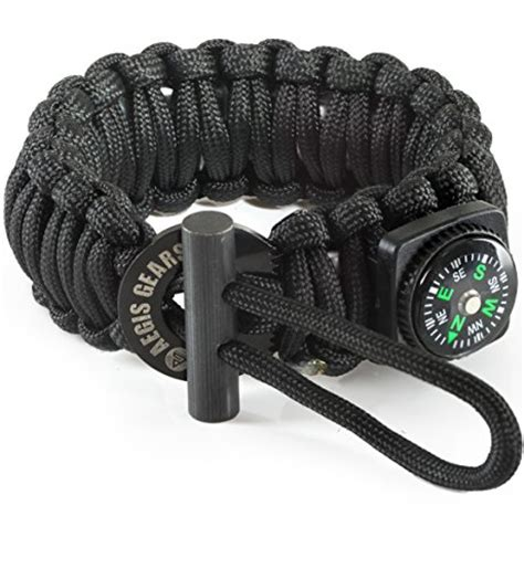 Paracord Survival Bracelet With Magnesium Starter Compass aegisgears paracord bracelet s series with outdoor survival gear kit starter compass