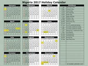Niger Calendã 2018 Nigeria 2017 2018 Calendar