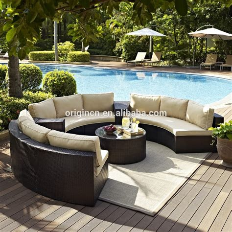 Half Circle Patio Furniture Semi Circle Patio Wicker Chairs With Sectional Arm Tables Rattan Garden Treasures Outdoor