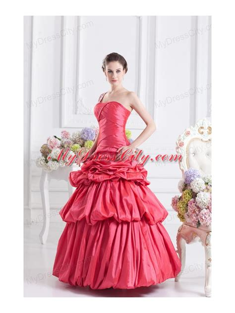 cheap coral red  shoulder beading ball gown quinceanera