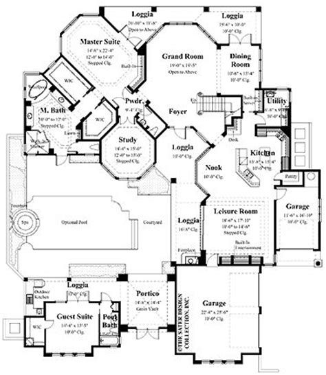 house plan rectangle with courtyard park in house plans and square feet on pinterest
