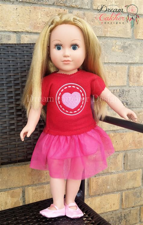 design doll items ith round heart applique doll t shirt top 18 doll