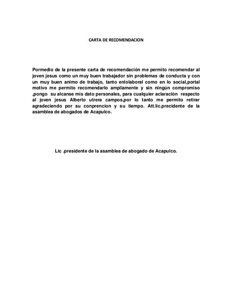 modelo carta recomendacion personal 2 carta de recomendacion 2