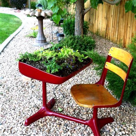 desk planter old school desk made into a planter backyard ideas