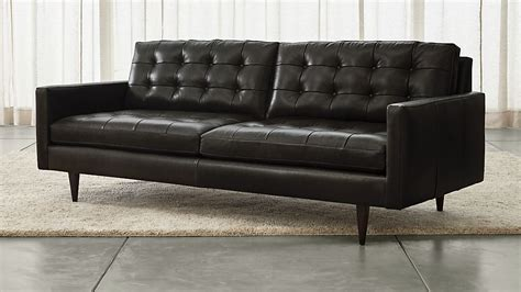 petrie black leather sofa crate and barrel