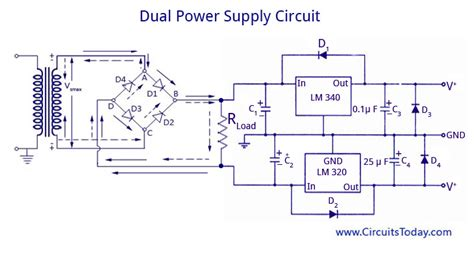 dual power supply circuit diagram dual voltage supplies power supply using lm 320 and lm 340