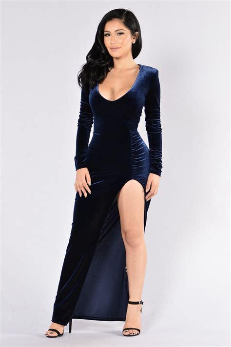 Fashion Ot magic velvet dress navy