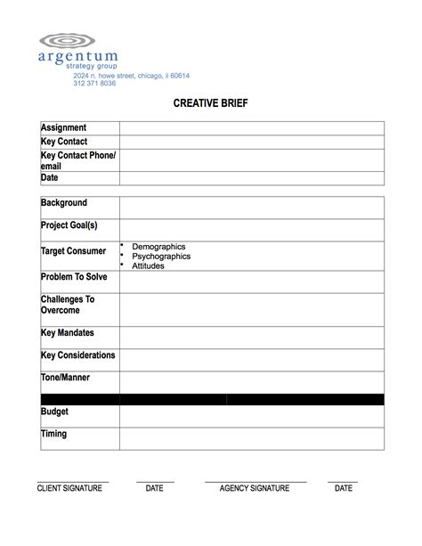 creative brief template argentum strategy group