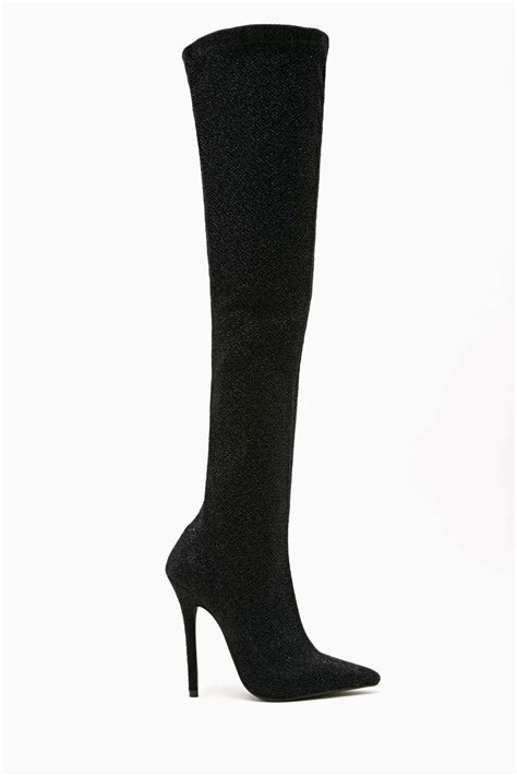 gal jeffrey cbell kinki thigh high boot black in