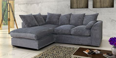 Settees Uk porto jumbo cord corner sofa settee chenille cord fabric in grey ebay