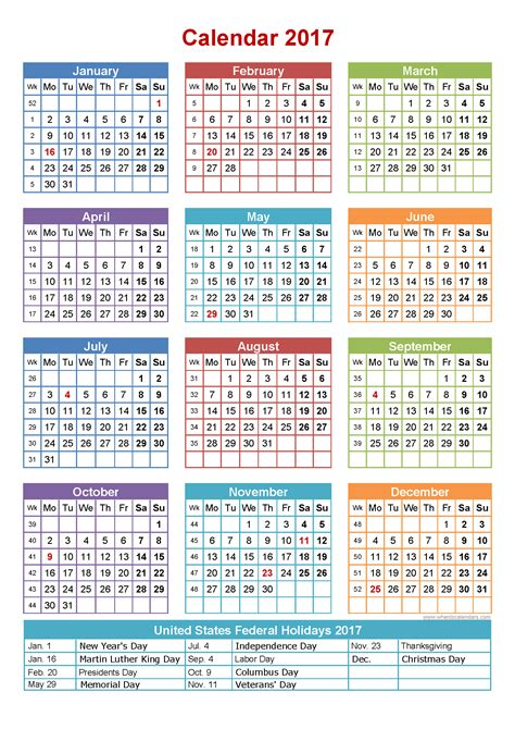 Calendars With Holidays 2017 Calendar With Holidays Printable Yearly Calendar