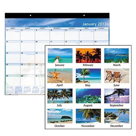Office Depot Desk Calendar Office Depot Brand Monthly Desk Pad Calendar 22 X 17 30percent Recycled Paradise January To