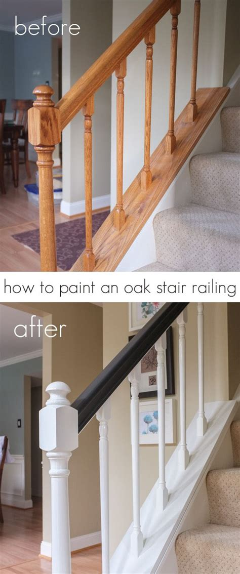 best paint for stair banisters how to paint an oak stair railing black and white