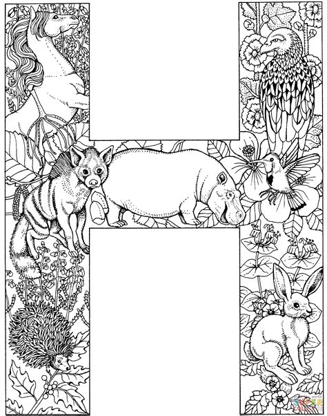 H For Coloring Page by Letter H With Animals Coloring Page Free Printable