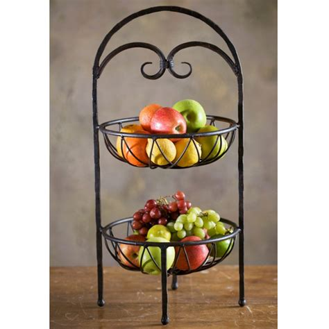 Tiered Fruit Stand Kitchen by Wrought Iron Siena 2 Tier Fruit Stand By Toscana
