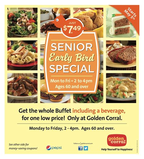 golden corral senior early bird special m f 2 4pm 60
