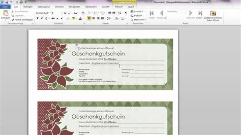 Word Vorlage Mit Feldern Erstellen Word Geschenkgutscheine Erstellen