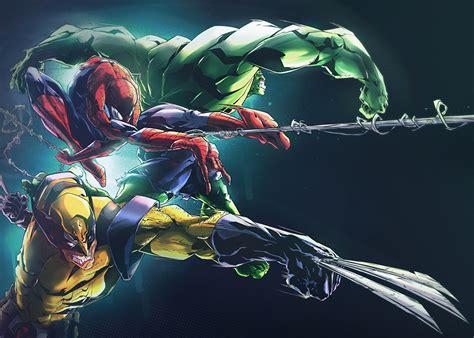 imagenes epicas de marvel fondos de pantalla spiderman h 233 roe hulk h 233 roe wolverine