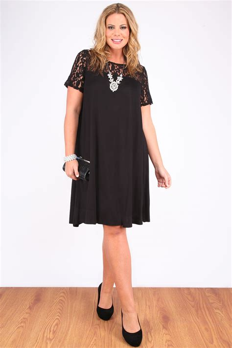 swing dress plus size black swing dress with lace contrast plus size 16 18 20 22