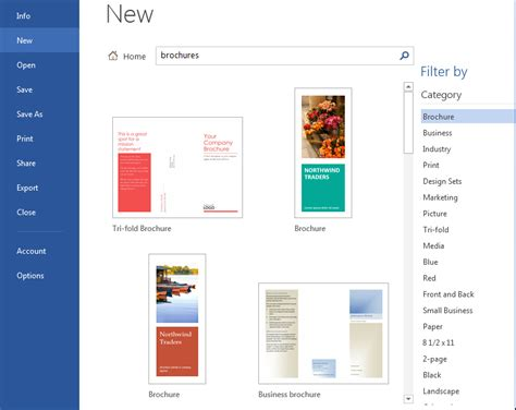 how to create word 2013 brochures