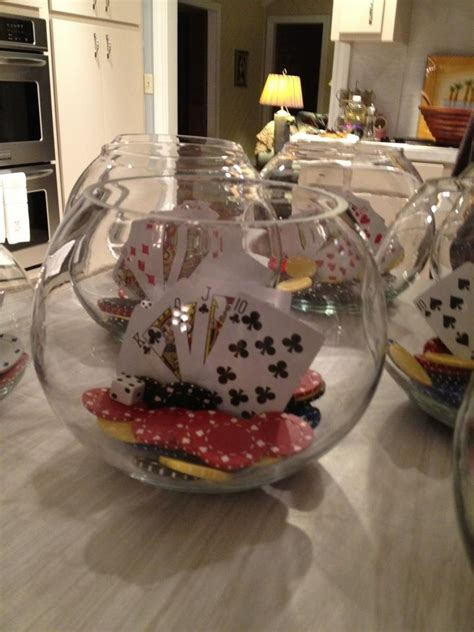 casino centerpieces casino centerpieces made with fish bowls cards chips and dice fish bowl