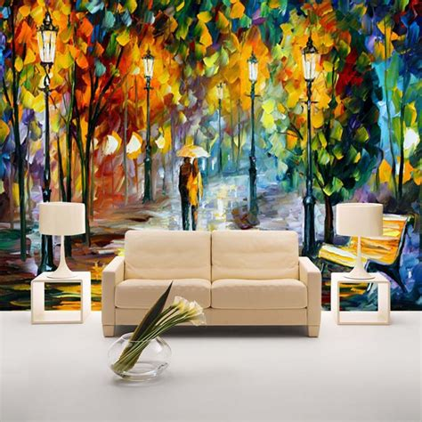 Home Decor Murals by Unique Knife Painting Wallpaper Colorful Wall Mural
