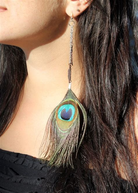 Anting Bulu Peacock 15 trendy peacock feather earrings ideas entertainmentmesh