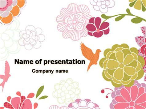 pink floral theme powerpoint template backgrounds