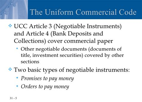 mastering negotiable instruments ucc articles 3 and 4 and other payment systems books chapter 31 negotiable instruments