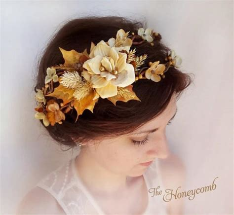a gold sprayed flower crown wedding hairstyles photos fall hair accessories flower crown wedding headpiece