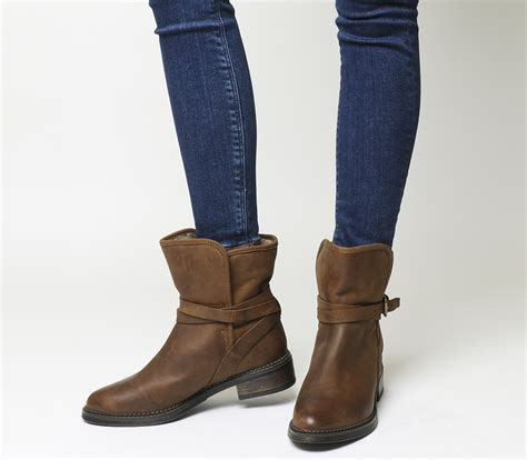 womens brown biker boots office isolate fur lined biker boots brown leather ankle