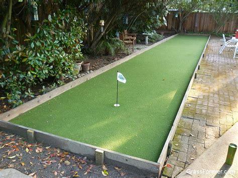 put grass in backyard hybrid putting bocce ball court garden landscape