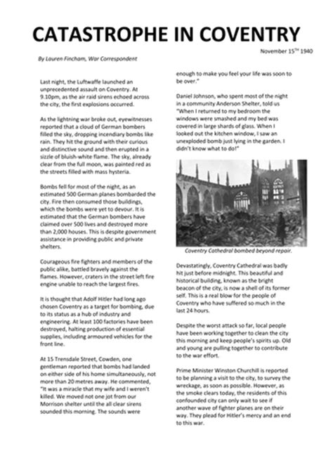Ww2 The Blitz In Coventry Newspaper Article Ks2 By