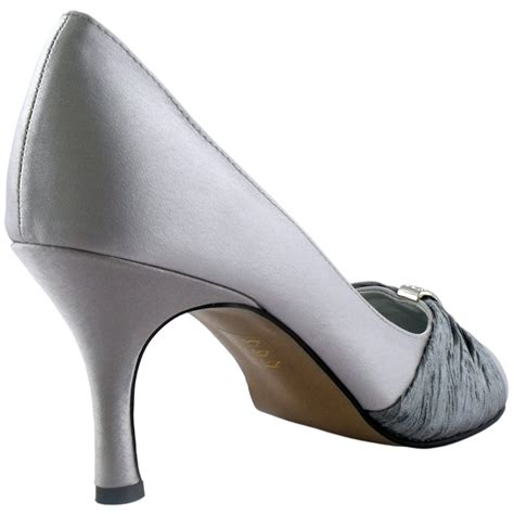 silver satin mid heel evening court shoes size 7 ebay