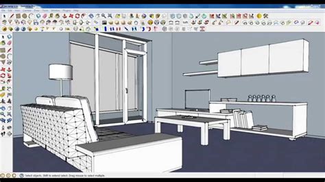design apartment sketchup sketchup tutorial part 04 living room modeling plant