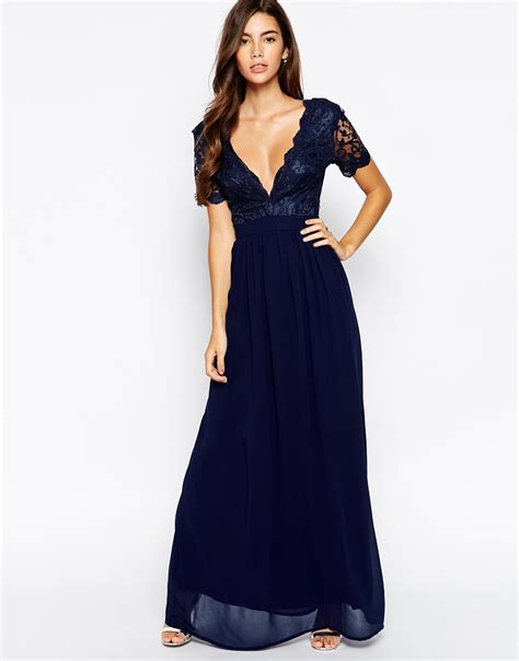 Dress L club l maxi dress with scallop lace plunge navy in blue