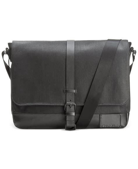 Ck Messenger calvin klein coated canvas messenger bag in black for