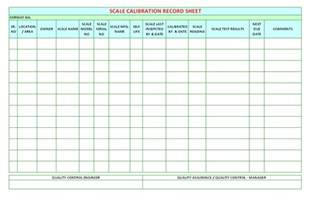 scale calibration record sheet format samples word