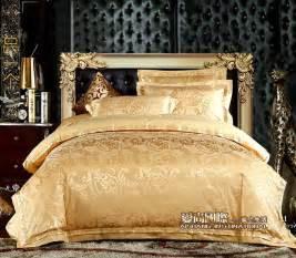 Silk Duvet King Palace Gold Jacquard Bedding Set Queen King 4pcs Tribute