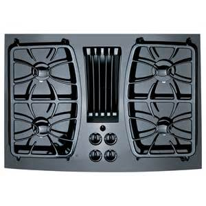 Gas Cooktop With Downdraft Shop Ge Profile 4 Burner Downdraft Gas Cooktop Black