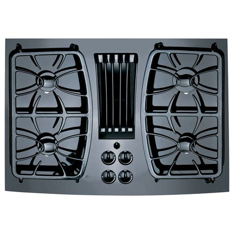 Gas Downdraft Cooktops shop ge profile 4 burner downdraft gas cooktop black