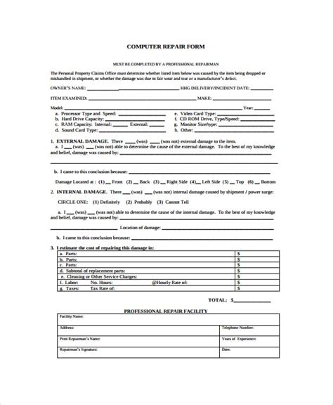 computer repair work order form template sle repair form 8 documents in pdf word