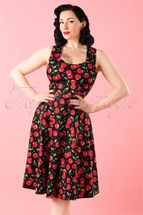 swing kleider wien 50s vienna cherry dress in black