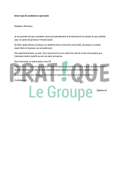 texte mail candidature spontan 233 e lettre de motivation candidature 2018