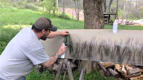 how to paint a boat camouflage pattern camouflage canoe youtube