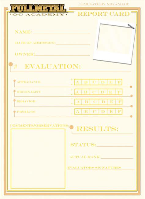 Oc Card Template by Fma Oc Academy Report Card By Novanoah On Deviantart