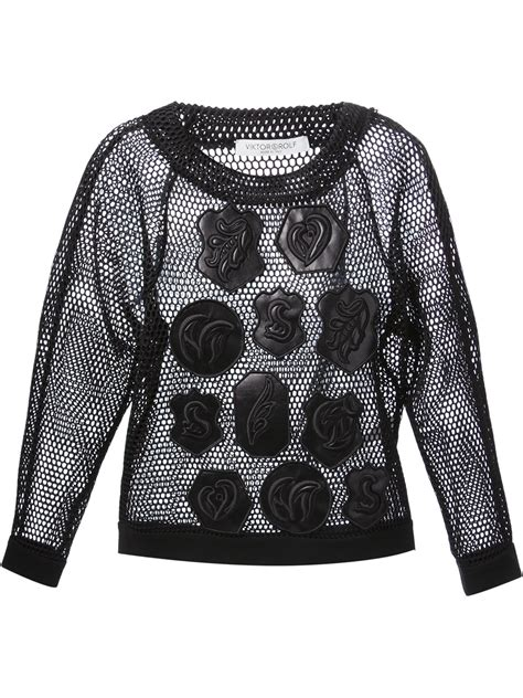 Patchwork Top - viktor rolf mesh patchwork top in black lyst