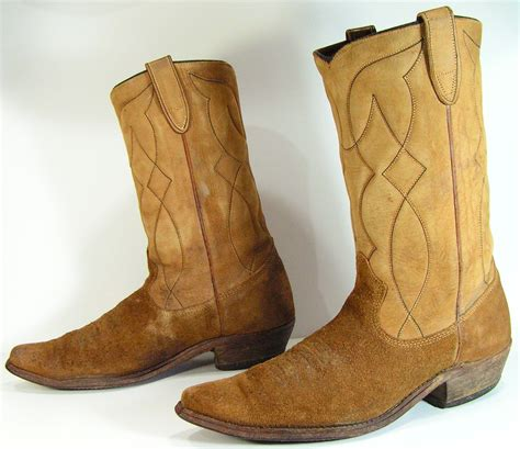 cowboy boots mens 9 5 d brown vintage suede western womens 11