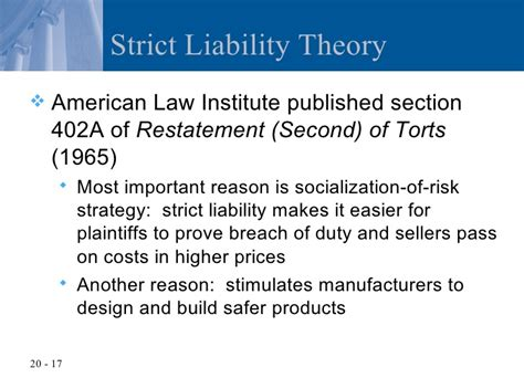 section 18 liability chapter 20 product liability